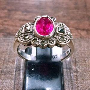 Jewelry - Vintage Garnet + Hematite Sterling Silver Ring 8